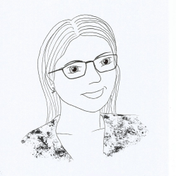 Line drawing showing a young woman with a broad smile, long hair, and glasses.
