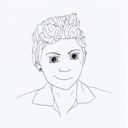 Line drawing showing a young woman with short, curly hair and a determined look.