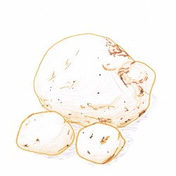 Hand drawing of three potatoes