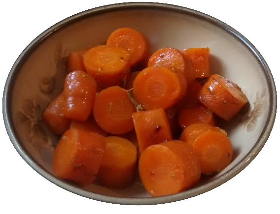 A photograph of casseroled carrot chunks in a brown bowl