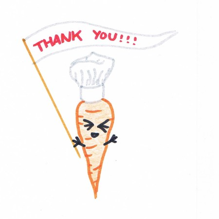 Hand drawing of an orange carrot wearing a chef's hat, waving a banner that reads THANK YOU!!!