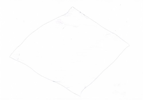 hand drawing of a square of aluminium foil