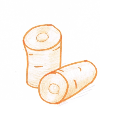Hand drawing of chunks of carrot