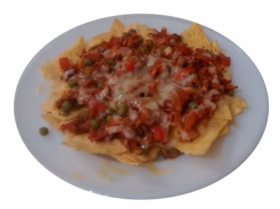 Photograph of a plate of tortilla chips covered in savoury mince and melted cheese