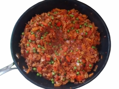 Photograph of a wok containing savoury mince