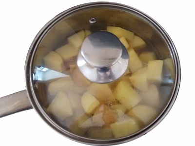 Photograph of a saucepan containing chunks of potato, roughly covered by water