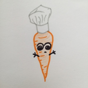 Hand drawing of a carrot in a chef's hat, with dizzy spiral eyes and a sad mouth