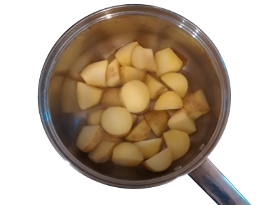 Photograph of a saucepan containing cooked potato chunks