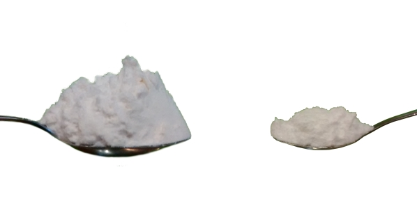 Photograph of a heaped tablespoon of flour, and a heaped teaspoon of baking powder